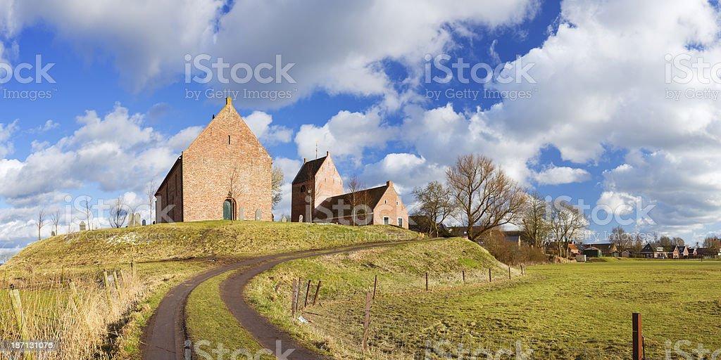 Old village on a mound ('terp'), Ezinge, Groningen, The Netherlands stock photo