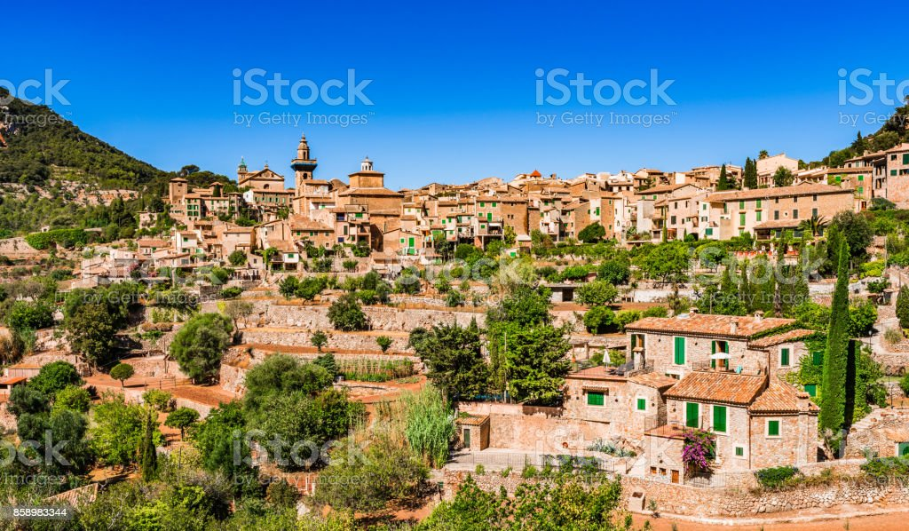 Old village Valldemossa on Majorca Spain stock photo