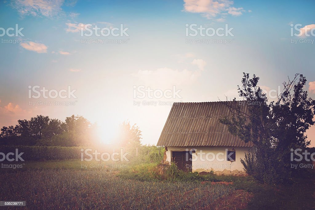 Old villager's house stock photo