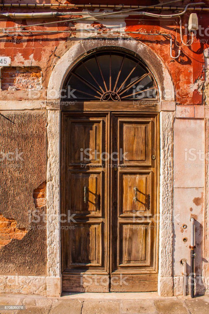 Old vimtage wood door, brown wooden buiding entrance stock photo