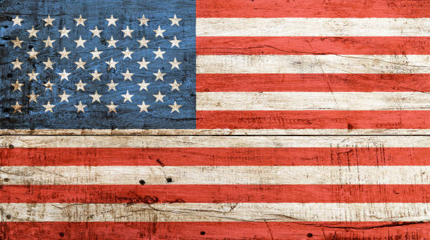 old vintage american us flag over white wood - flag background stock photos and pictures