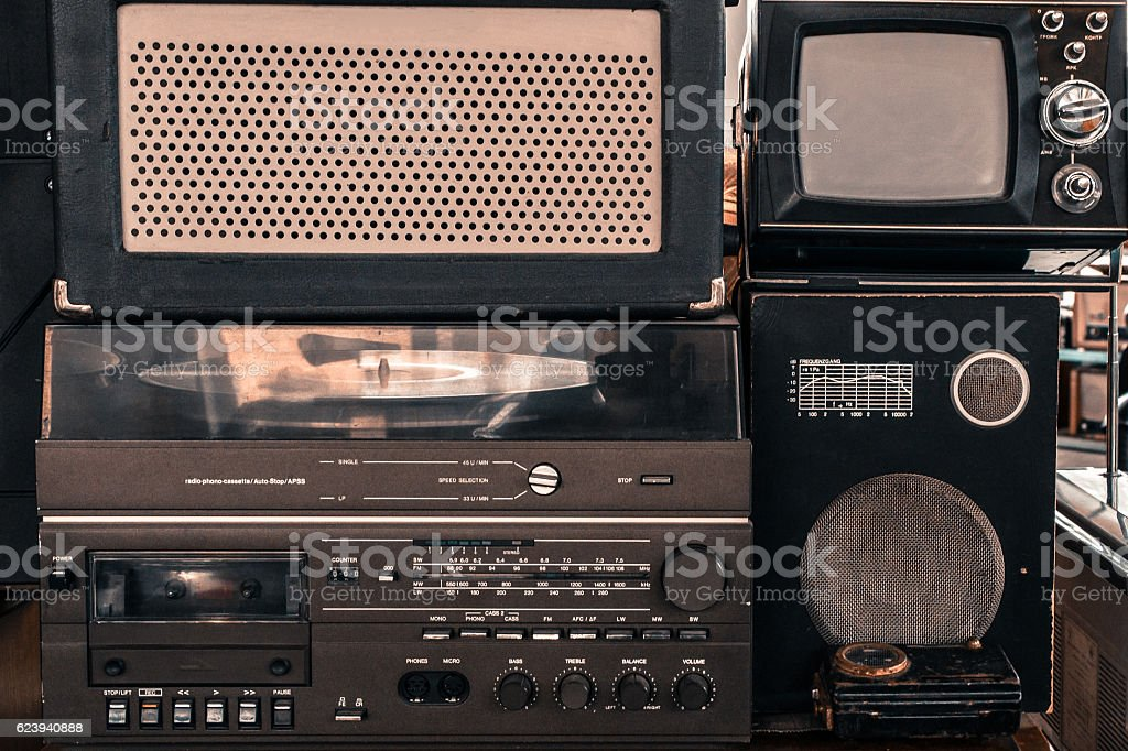 Old vintage audio system with radio, cassette tape recorder stock photo