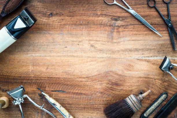 Alte Vintage Barbershop Werkzeuge auf Holztisch - Barbershop Hintergrund mit Textfreiraum – Foto