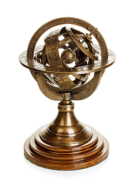 Old vintage brass model of the solar system. Astronomical device. stock photo