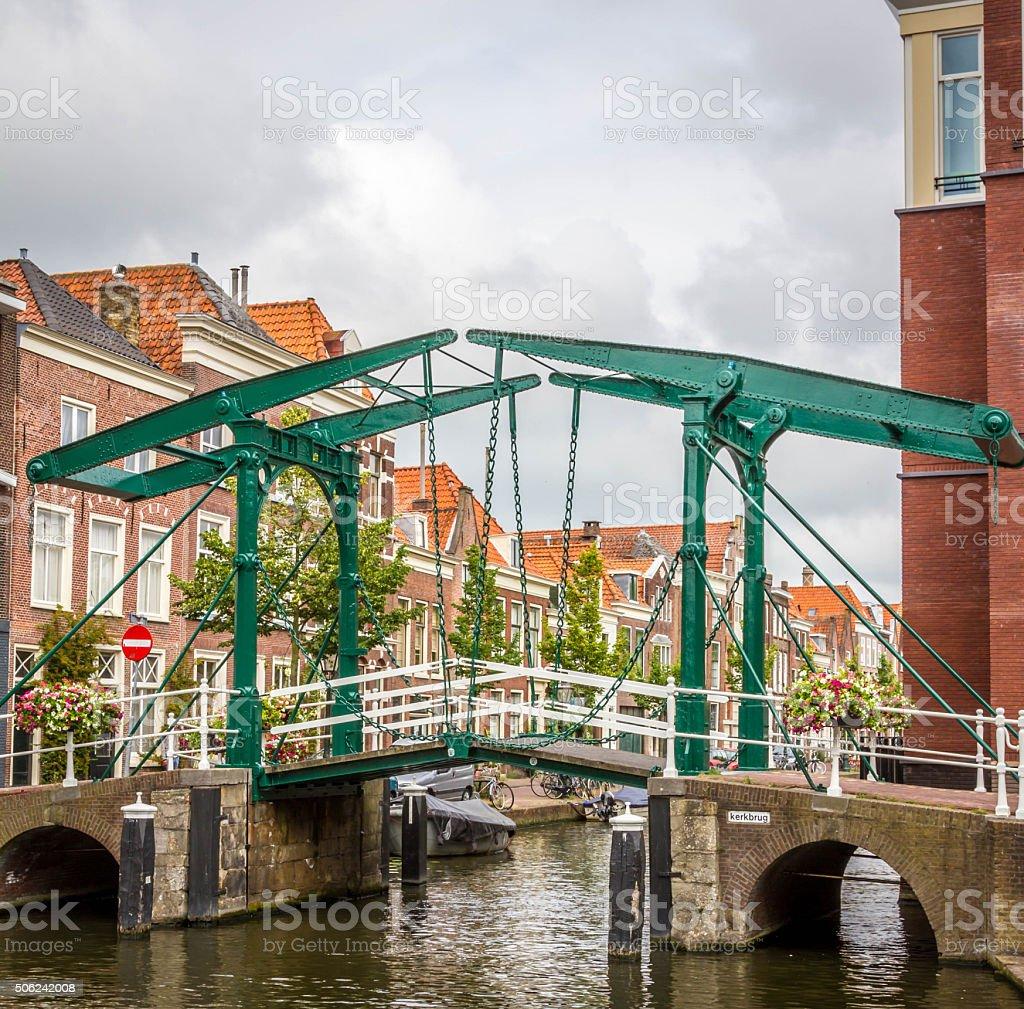 Old vintage bridge in Leiden, Holland stock photo