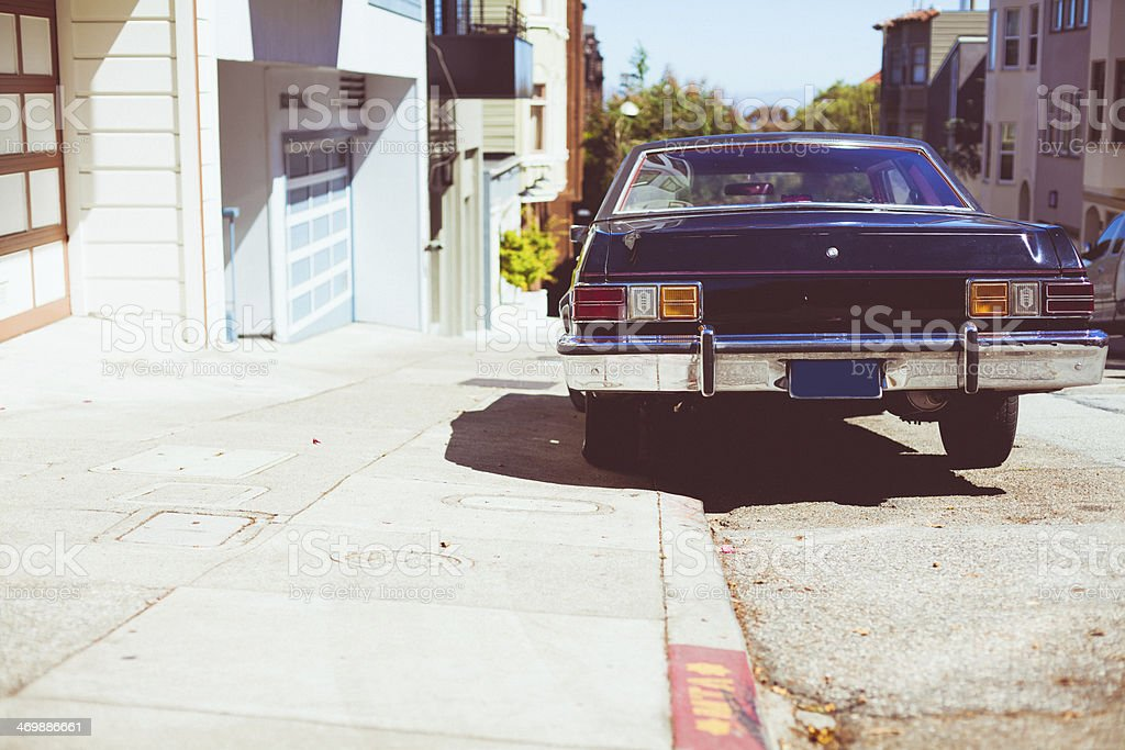 Old Vintage Car on the streets of San Francisco royalty-free stock photo