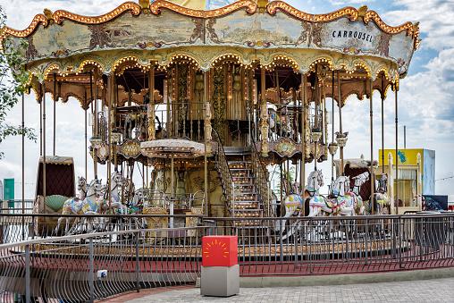 Old vintage carousel in Tibidabo park in Barcelona town