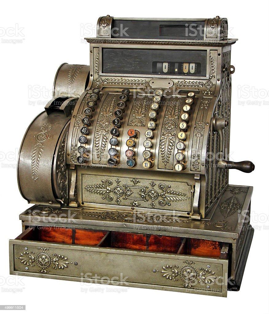 Velho vintage de caixa registradora - foto de acervo