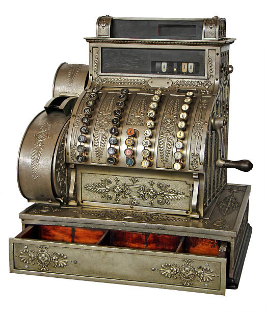 Old vintage cash register Old vintage cash register isolated on white background with Clipping Path cash register stock pictures, royalty-free photos & images