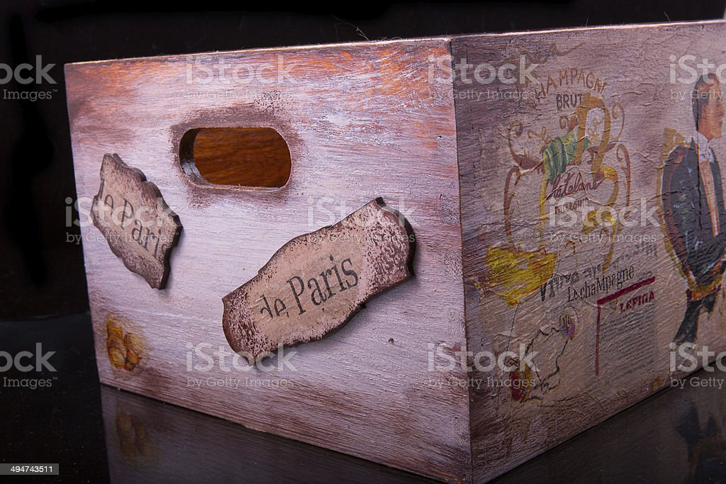 old vintage chest of patterns stock photo