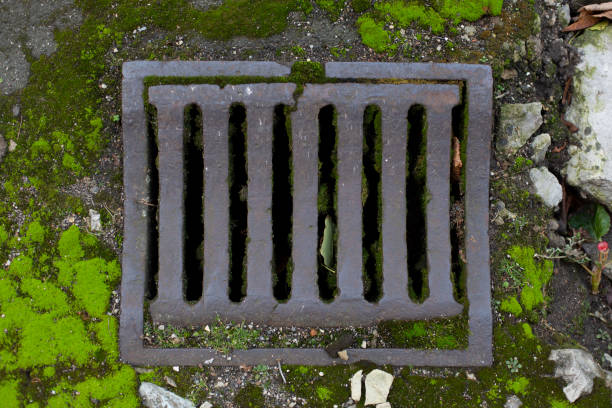 Old vintage city sewer grate road drainage stock photo