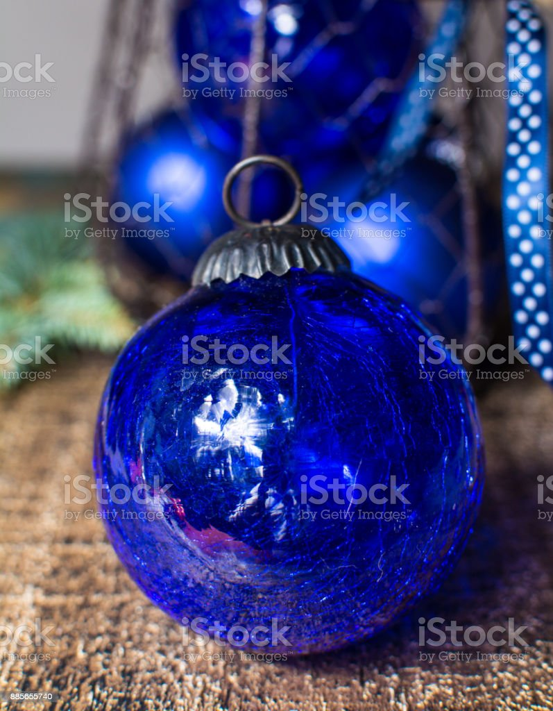 Old Vintage Cobalt Blue Christmas Tree Balls From Glass Stock Photo Download Image Now Istock