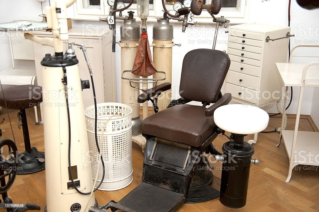 old vintage dentist chair stock photo