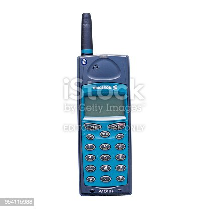 istock Old vintage Ericsson A1018s mobile phone 954115988
