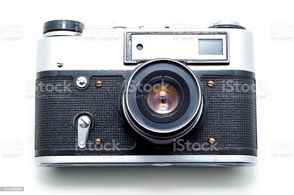 Old vintage film photographic camera isolated on white backgroun – Foto