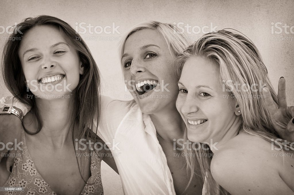 Old vintage friends stock photo