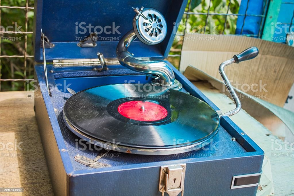 Old vintage gramophone stock photo