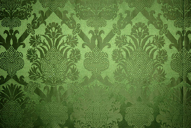 old vintage green wallpaper texture - velvet stock pictures, royalty-free photos & images