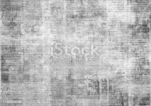 istock Old vintage grunge newspaper paper texture background. 1155034338