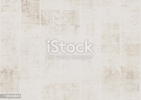 istock Old vintage grunge newspaper paper texture background. 1155034844