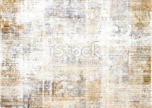 istock Old vintage grunge newspaper paper texture background. 1160453345