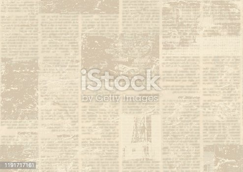 1134202009istockphoto Old vintage grunge newspaper paper texture background. 1191717161