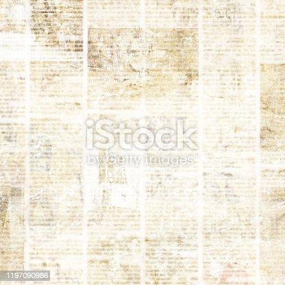 497021263 istock photo Old vintage grunge newspaper paper texture background 1197090986