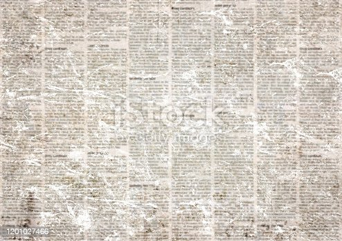 Old grunge newspaper paper textured horizontal background. Vintage newspapers texture. Newsprint typed sheet. Unreadable aged page. News collage. Rough urban style.