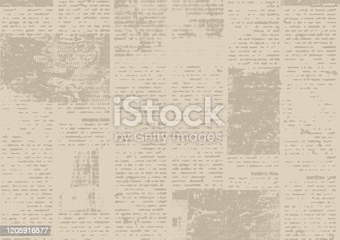 1134202009 istock photo Old vintage grunge newspaper paper texture background. 1205916577