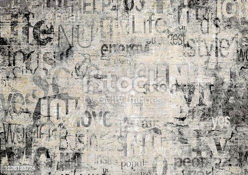 497021263 istock photo Old vintage grunge newspaper paper texture background. 1226193724