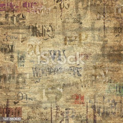 istock Old vintage grunge newspaper texture background 1031880630