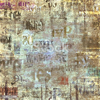 istock Old vintage grunge newspaper texture background 1036013366