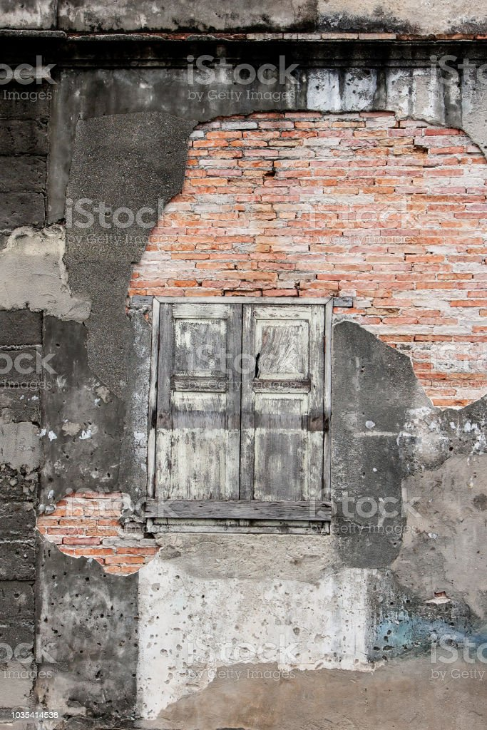 Old vintage house, background texture of a cracked and eroded wall,...