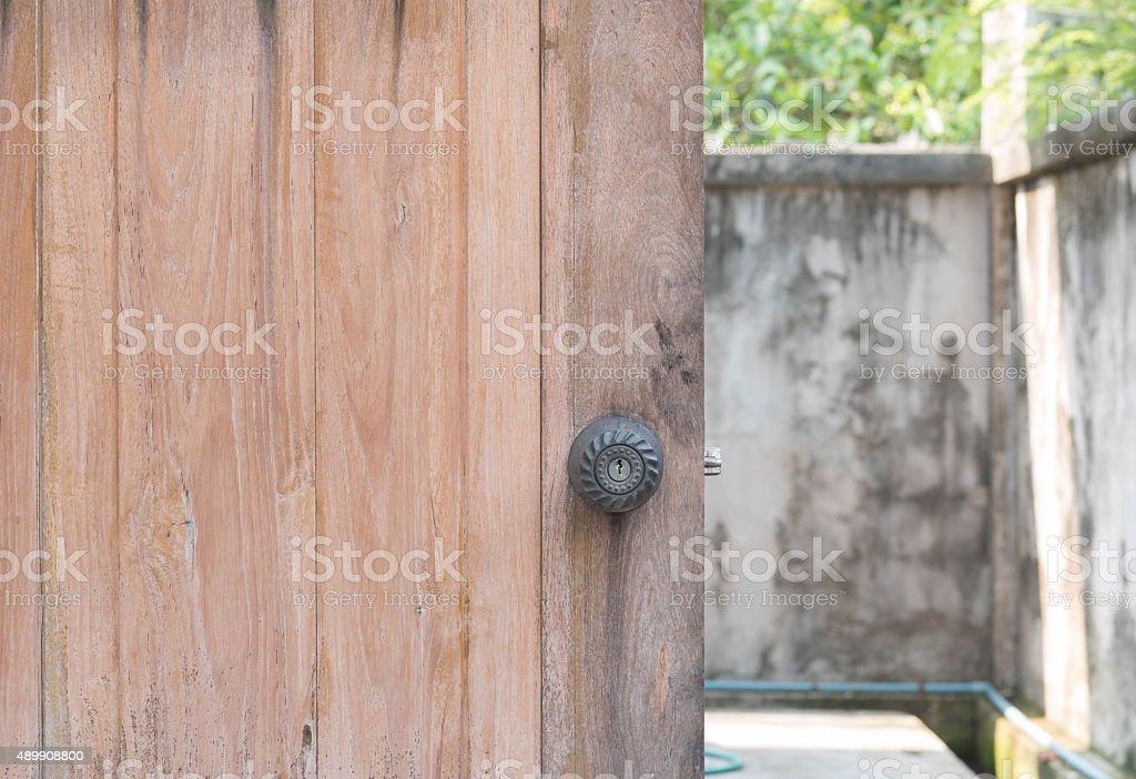 Old vintage knob door Wood stock photo