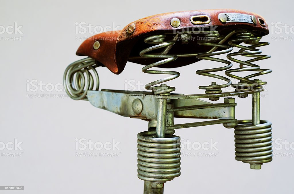 old vintage leather bike saddle royalty-free stock photo