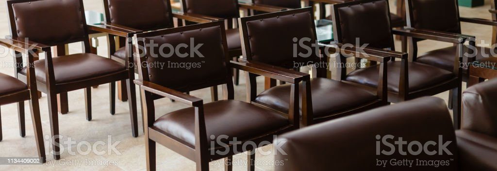 old vintage leather chair, Empty conference room before meeting