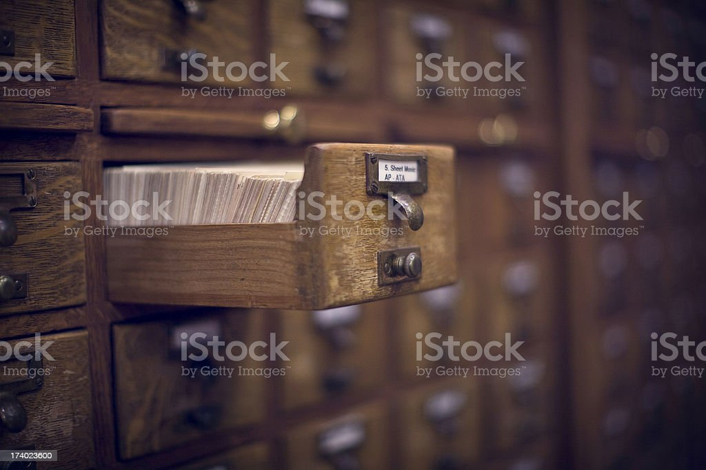 Old Vintage Library Card Catalog stock photo