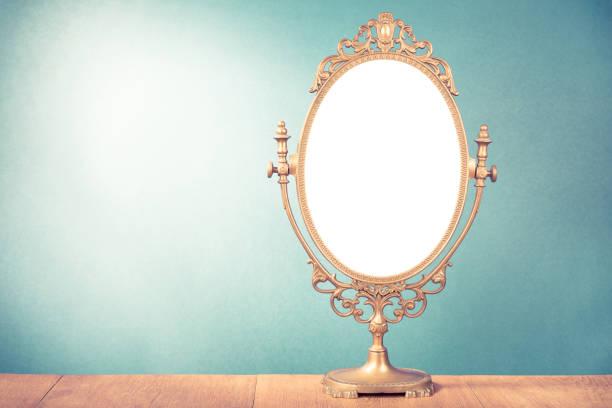 Alte Vintage Make-up-Spiegel-Rahmen für den Hintergrund. Retro-Stil gefilterten Foto – Foto