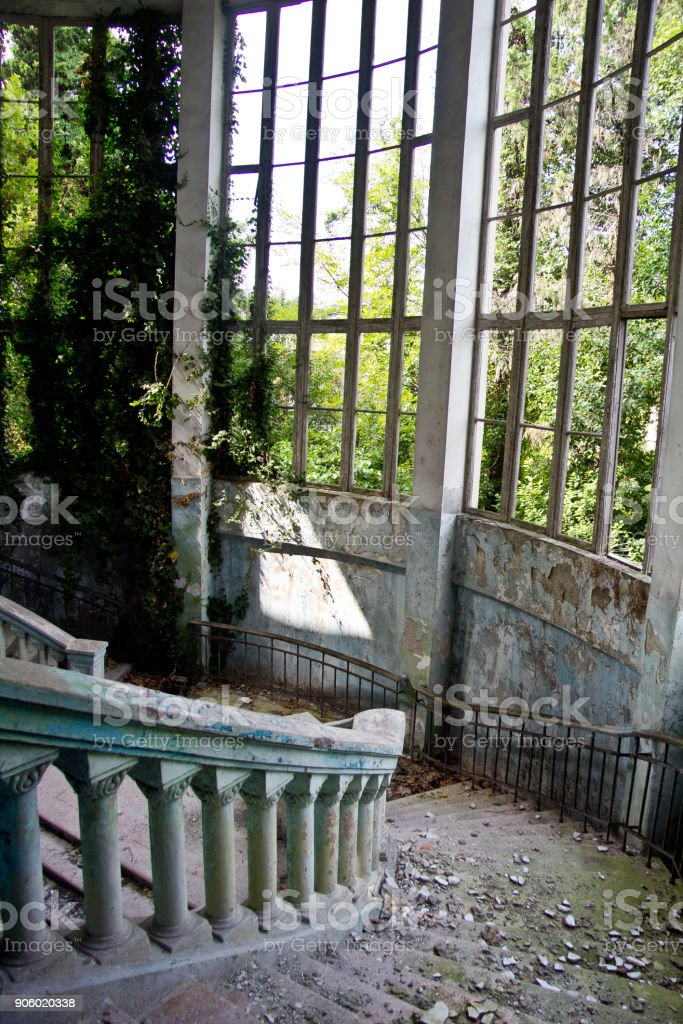 Old Vintage Marble Spiral Staircase At Abandoned Overgrown Mansion  Royalty Free Stock Photo