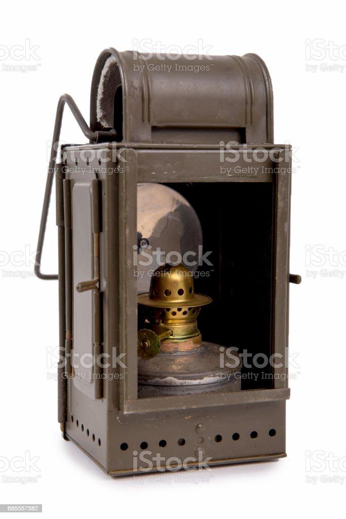 Old vintage military lantern isolated on white background 免版稅 stock photo