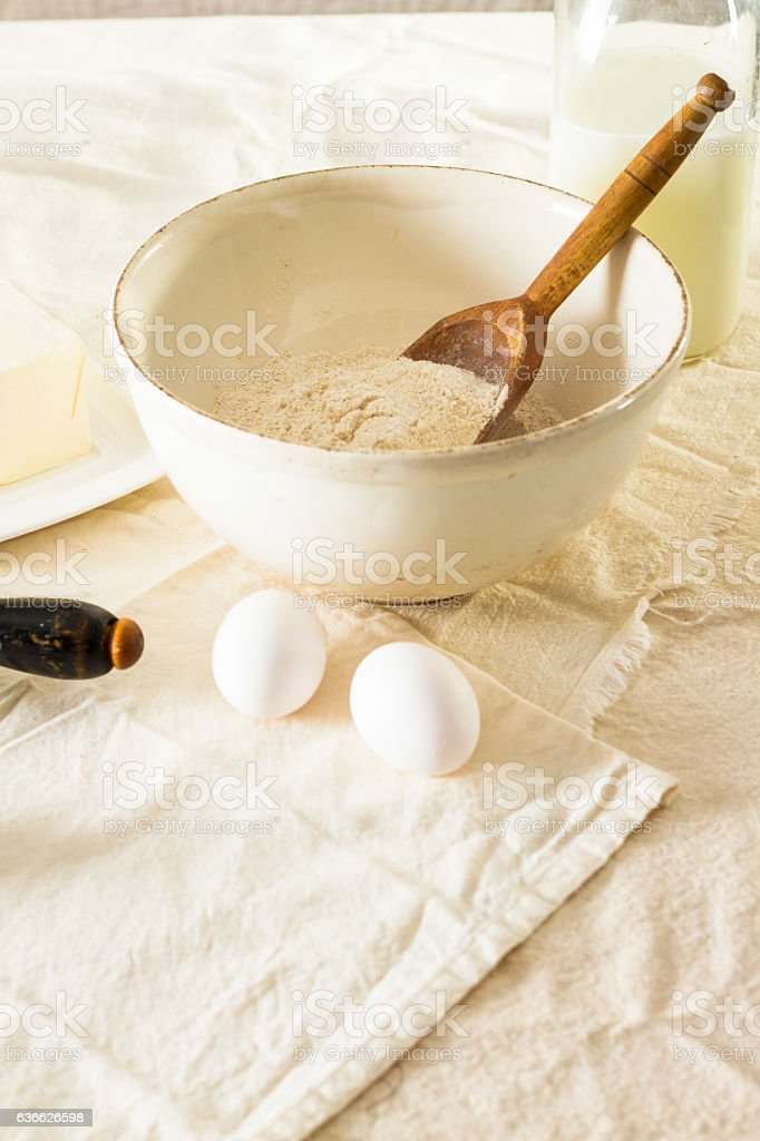 Old Vintage Mixing Bowl With  Flour And Eggs stock photo