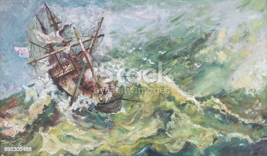 istock Old Vintage Nautical Coastal Landscape Oil Ship Painting 695305488