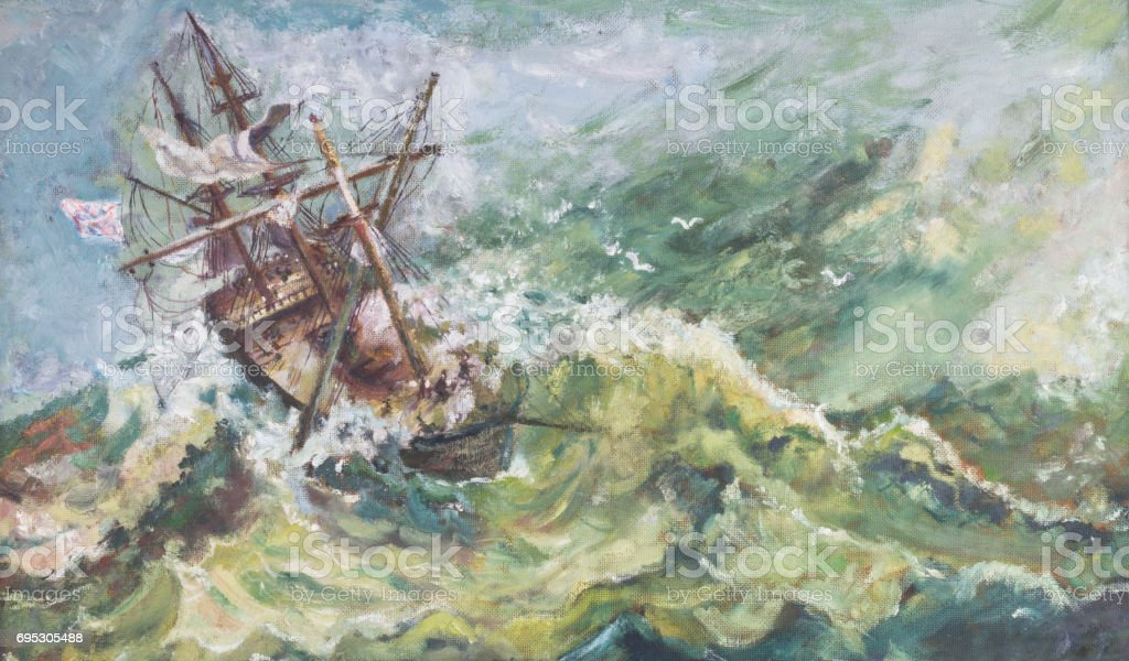 Old Vintage Nautical Coastal Landscape Oil Ship Painting stock photo