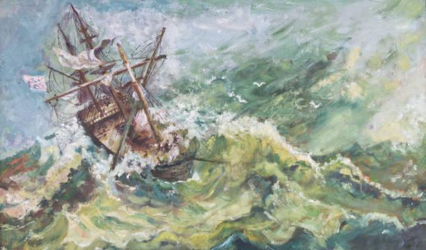 eski vintage deniz kıyı manzara petrol gemi boyama - yağlı boya resim stok fotoğraflar ve resimler