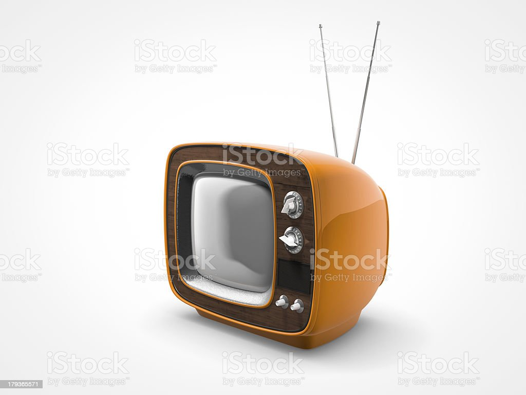 old vintage orange tv royalty-free stock photo