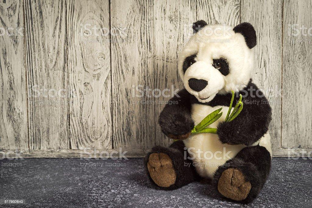 old vintage panda soft toy stock photo
