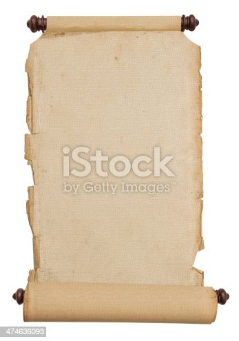 1129542015 istock photo Old vintage paper scroll isolated on white 474636093