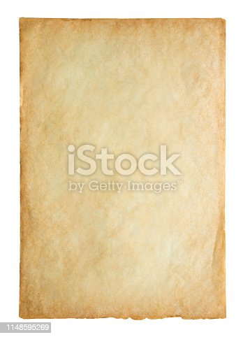 891131294istockphoto Old vintage paper sheet texture isolated on white background 1148595269
