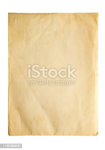 891131294istockphoto Old vintage paper sheet texture isolated on white background 1150385087