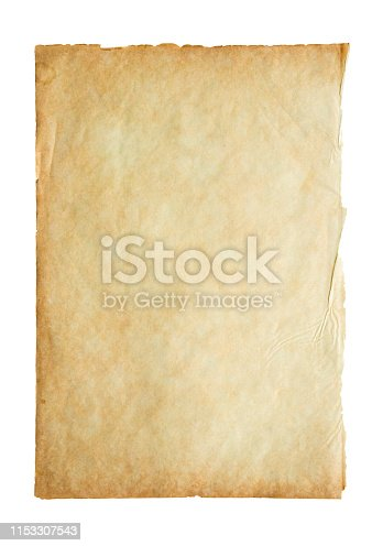 891131294istockphoto Old vintage paper sheet texture isolated on white background 1153307543